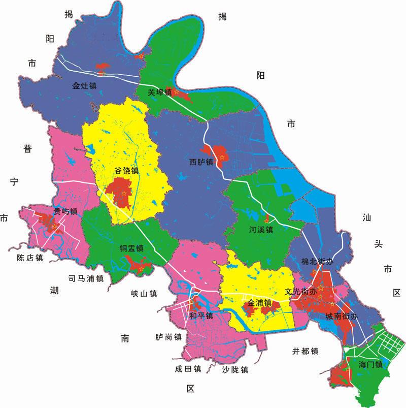 汕头市潮阳区行政区域图